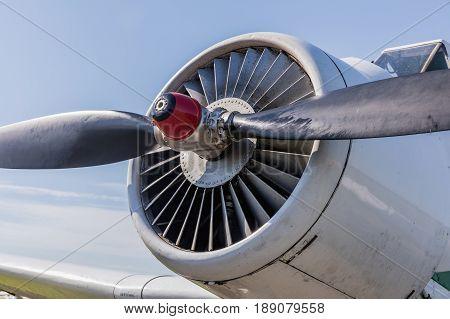 detailed insigh tturbine blades of an aircraft jet engine two blades