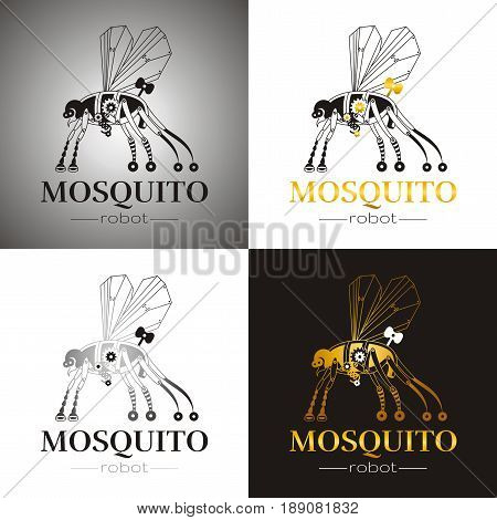 Cybernetic robot mosquito drone logo icon set. Vector steampunk cyborg flying animal. Futuristic vintage insect monster illustration. Text lettering, color background. Silhouette, poster template