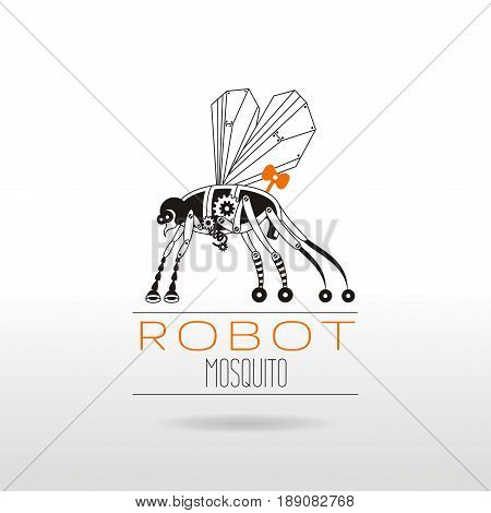 Cybernetic robot mosquito logo icon. Vector steampunk cyber animal. Futuristic retro insect monster illustration. Text lettering, white background. Poster banner, design element, black silhouette