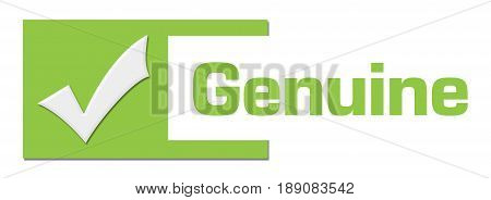 Genuine concept image with text and related symbol.