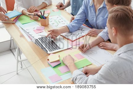 Young team working with marketing plan in office