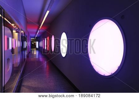 Bern, Switzerland - 17 September 2013: forms and colors on a pedestrian underpass at Bern on Switzerland