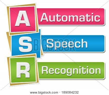 ASR - Automatic Speech Recognition text written over colorful background.