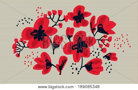 Red floral drawing in freehand style. Abstract hand drawn red flower vector illustration.  Sketch decorative flowers for card, header, poster, book cover.
