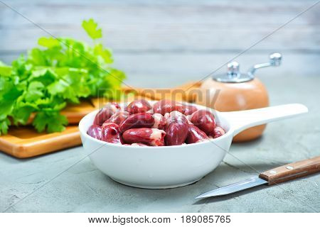 Raw Chicken Hearts