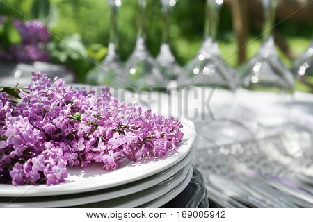 Set of dishware and lilac flowers decoration on table, closeup