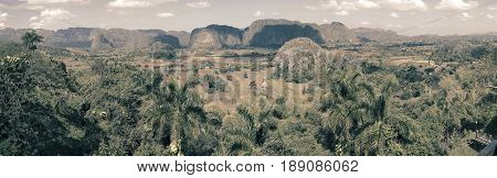 Panoramic view on Vinales Valley. Cuba. Toning