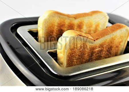 An Image of a toast and a toaster