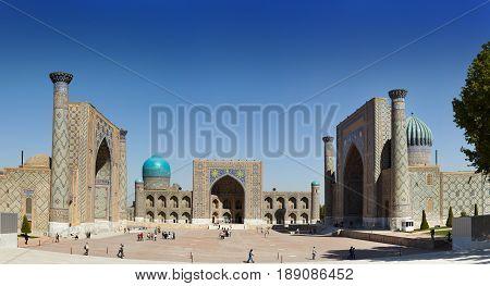 Square Registan Samarkand. Uzbekistan in a sunny day
