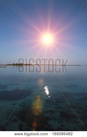 Ocean at sunset . Polynesia . Tahiti