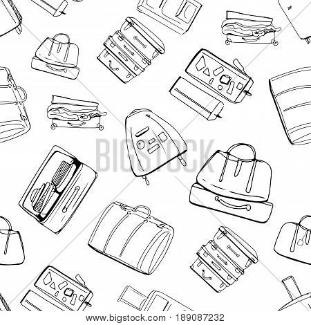 Hand drawn seamless pattern with different travel bags and suitcases. Vector illustration