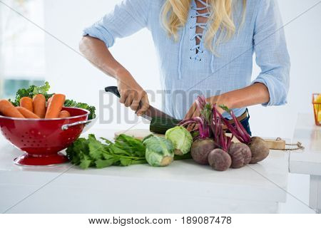 Mid-section of woman cutting vegetables on chopping board against white background