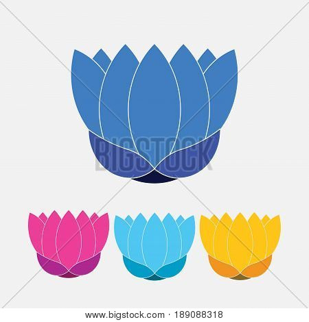 symbol of a lotus a set of multi-colored lotus symbol a symbol of life a symbol of the moon and fire fully editable vector image