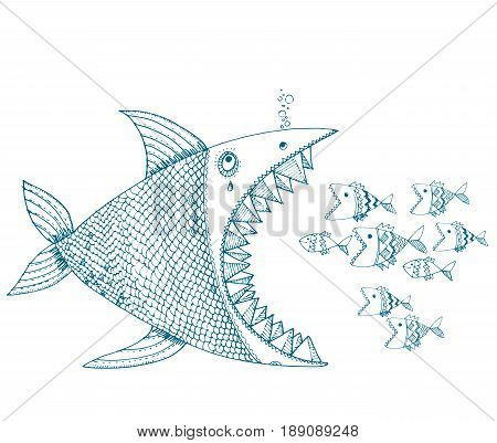 hand drawn vector illustration of decorative abstract fish fighting. concept image of danger, group power, nature balance for poster, caver, card, print and web design