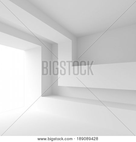 White Interior Background. Empty Room with Window. Modern Architecture Wallpaper. 3d Rendering
