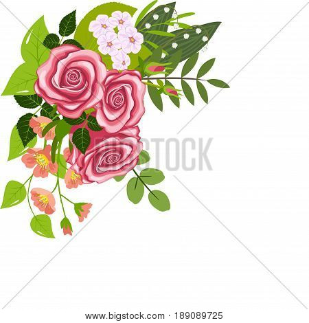 Corner flower composition, three roses, branches of flowering dogrose and cherry, lily of the valley flowers and leaves, isolated on white background, vector illustration