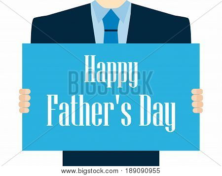 Happy Father's Day. A Festive Poster With A Man In A Suit And Tie. Vector Illustration