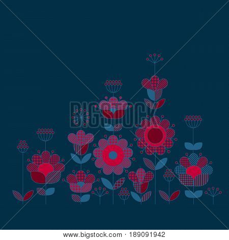 Peasant style floral design elements for cards, header, poster.  Rustic decorative flowers inspired by traditional folk European ornaments