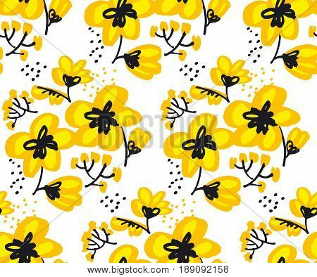 Blossom seamless pattern for surface design: wrapping paper, background, fabric. Abstract hand drawn yellow flower vector illustration.  Sketch decorative flowers