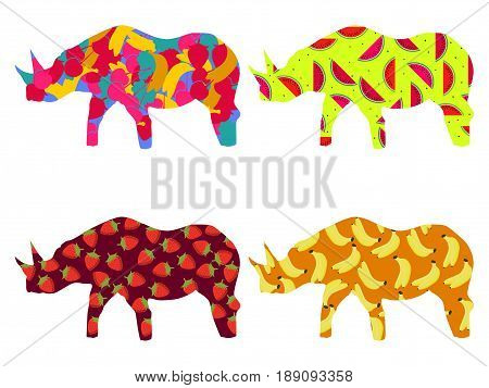 Rhino with a pattern of berries and fruit isolated on a white background. Bananas strawberries and watermelon. Vector illustration