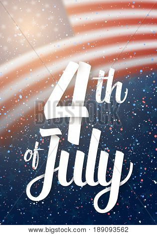 Illustration of USA The Day of Independence Vector Poster. Happy The 4th of July America Flag on Blue Background with Stars and Confetti