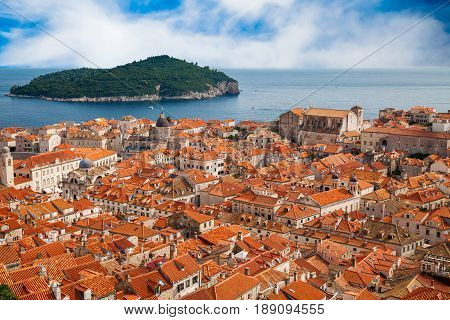 view of Dubrovnik old town and island Lokrum in a distance Croatia