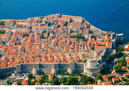 aerial view of Dubrovnik medieval Old town with its cozy architecture South Dalmatia Croatia