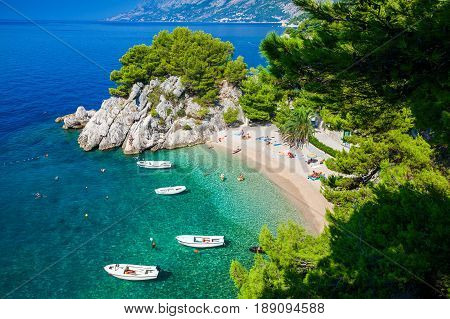 aerial view of the small Podrace beach in Brela Makarska Riviera Croatia