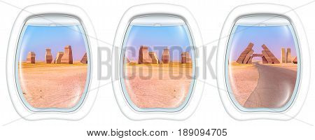 Three porthole frame windows on the Allah Door, entrance of Ras Mohammed National Park. Sharm el Sheikh, Sinai Peninsula, Egypt.
