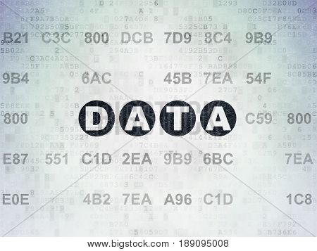 Data concept: Painted black text Data on Digital Data Paper background with Hexadecimal Code