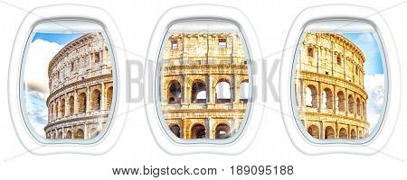 Three porthole frame windows on of Colosseo of Rome, Colosseum, , the largest amphitheater in the world and one of the symbols of Italy, located in historical center, Unesco Heritage Site.
