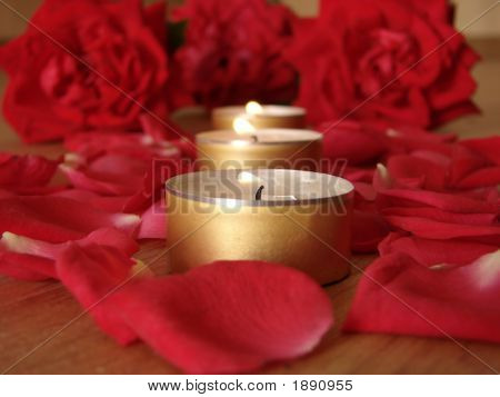 rose and candle. candlelight with rose on mirror. poster
