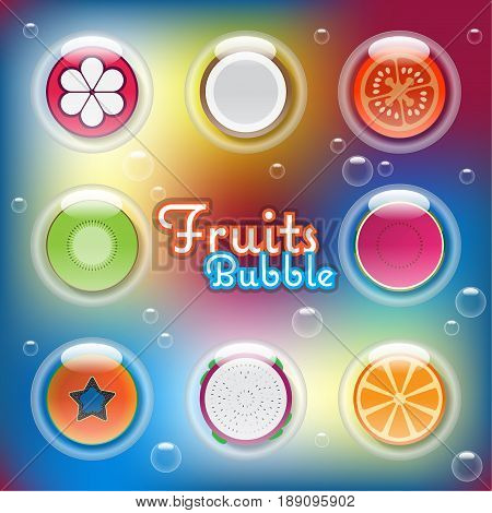 Mixed half sliced fruits in air bubbles flying in the air on colorful blurry background