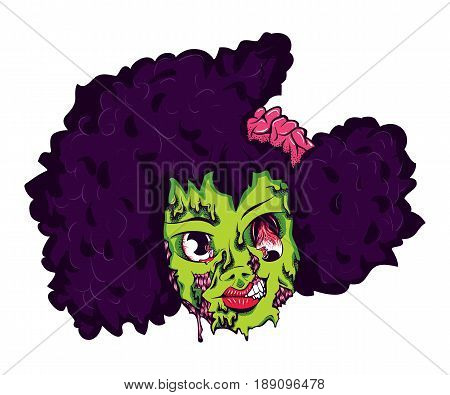 Cartoon Comic Scary Zombie Undead Horror Creepy Young Girl Sticker