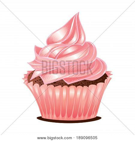 Vintage Sweet Pink Cupcake Buttercream Delicious Pastry Dessert Isolated Vector