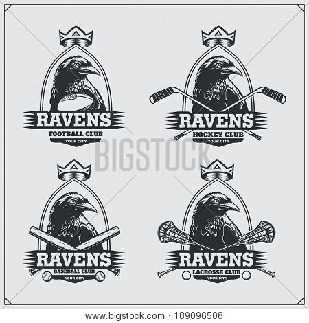 Football, lacrosse, baseball and hockey badges and labels. Sport club emblems with raven.