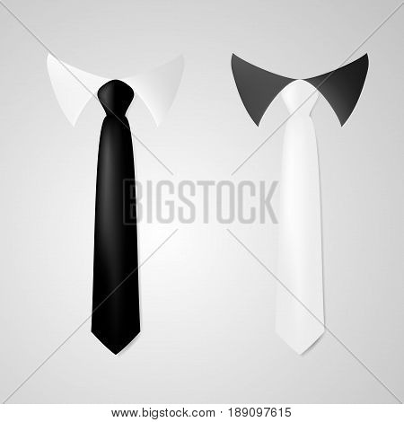 Various Black And White Business Neck Tie. EPS10 Vector