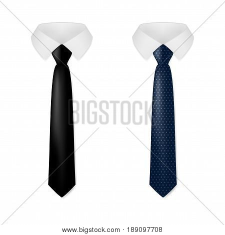 Various Black Business Neck Tie. EPS10 Vector