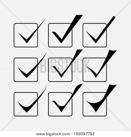 a set of check boxes icons confirms the right choice however the correct version a positive response the adoption of the statement yes fully editable vector image