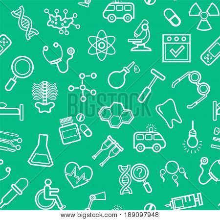 Medicine, green background, seamless, contour icons, vector. White, line drawings, medical services and instruments on a green field. Vector background.
