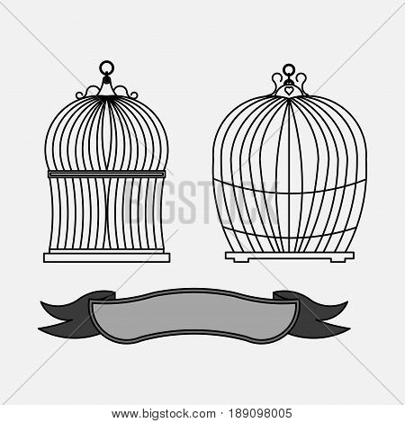 a set of cages for birds old cells fully editable vector image