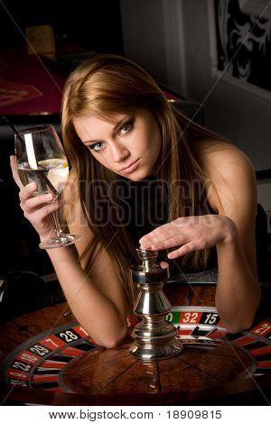 Beautiful woman in casino