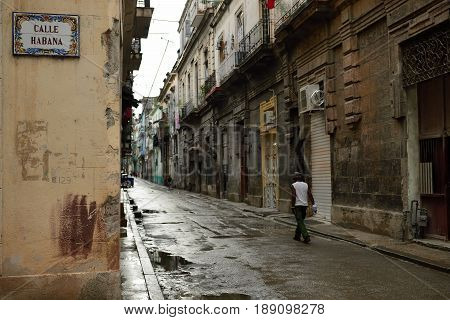 The old town in the heart of the old part of Havana on Cuba