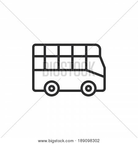 City tour bus line icon outline vector sign linear style pictogram isolated on white. Double decker symbol logo illustration. Editable stroke. Pixel perfect