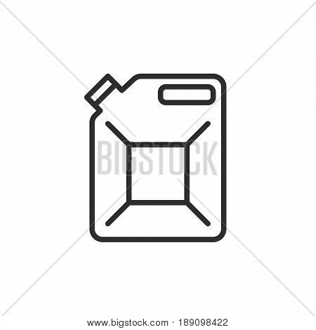 Jerrycan canister line icon outline vector sign linear style pictogram isolated on white. Symbol logo illustration. Editable stroke. Pixel perfect