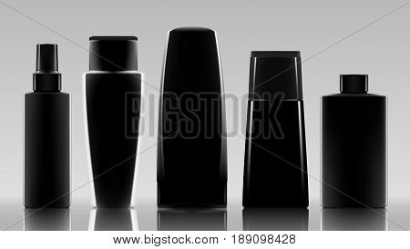 Set Of Black Cosmetic Products Package. Collection Of Cream, Soup, Foams, Shampoo. EPS10 Vector