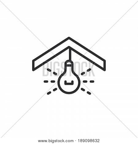 Ceiling light line icon outline vector sign linear style pictogram isolated on white. Symbol logo illustration. Editable stroke. Pixel perfect