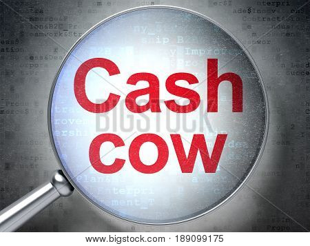 Business concept: magnifying optical glass with words Cash Cow on digital background, 3D rendering