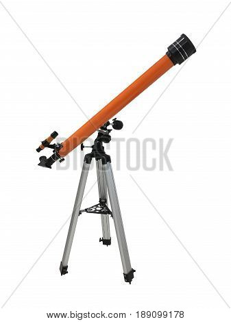 orange telescope on a tripod isolated on white background