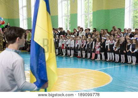 Zhytomyr Ukraine May 26 2017: The last day of school in Ukraine. School meeting in the gym on the graduation day.